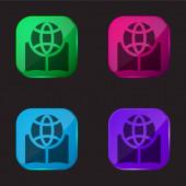 Book four color glass button icon