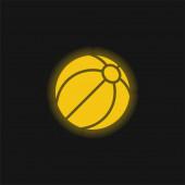 Beach Ball gelb leuchtende Neon-Symbol