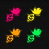 Schwarzer Vogel und zerbrochenes Ei vier Farben leuchtende Neon-Vektor-Symbol