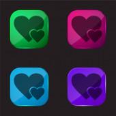 Big Heart And Little Heart négyszínű üveg gomb ikon