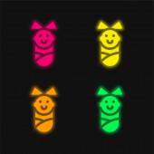 Baby Girl čtyři barvy zářící neonový vektor ikona