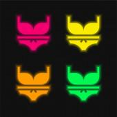 Bikini vier Farben leuchtenden Neon-Vektor-Symbol