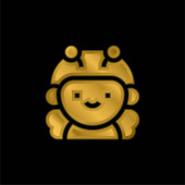 Bee gold plated metalic icon or logo vector