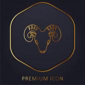 Aries Zvěrokruh Symbol přední kozí hlavy zlatá čára prémie logo nebo ikona