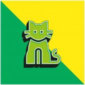 Černá kočka zelené a žluté moderní 3D vektorové logo