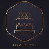 Narozeniny dort zlaté linie prémie logo nebo ikona