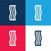 Bacon blau und rot vier Farben minimales Symbol-Set
