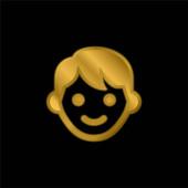 Chlapec pozlacené kovové ikony nebo logo vektor
