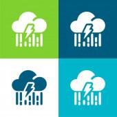 Bolt Lapos négy szín minimális ikon készlet