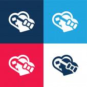 Box blau und rot vier Farben minimales Symbol-Set
