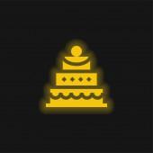 Geburtstagstorte gelb leuchtend neon Symbol