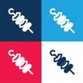 Grilování modré a červené čtyři barvy minimální ikona nastavena