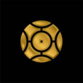 Pozlacená kulatá kovová ikona nebo vektor loga