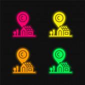 Adresa čtyři barvy zářící neonový vektor ikona