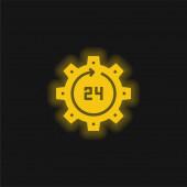 24 hodin žluté zářící neonové ikony