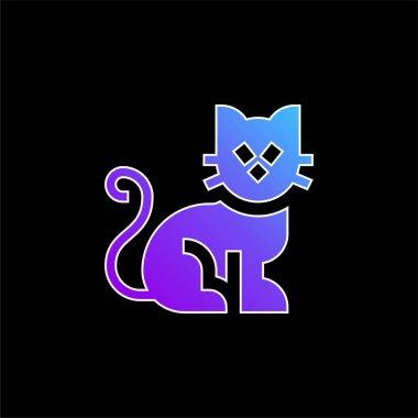 Black Cat blue gradient vector icon stock vector