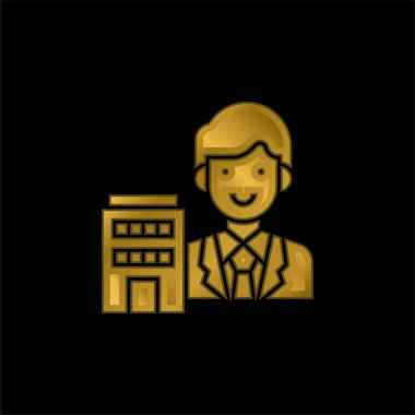 Agent gold plated metalic icon or logo vector stock vector