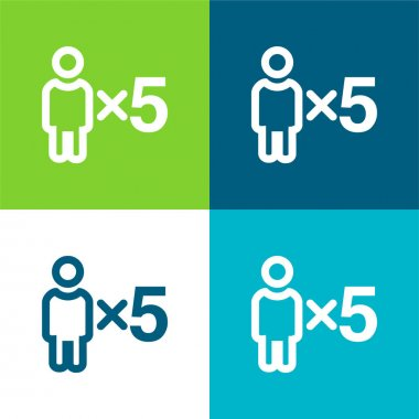 5 Persons Symbol Flat four color minimal icon set stock vector