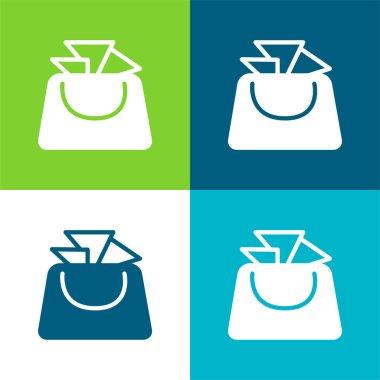 Bag For Ladies Flat four color minimal icon set