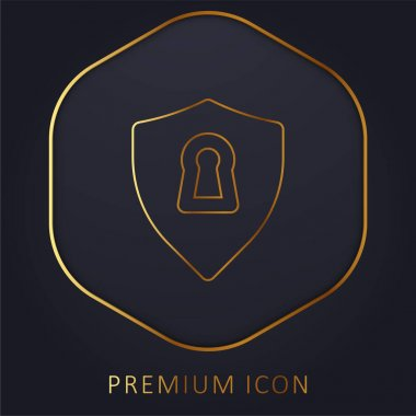 Antivirus golden line premium logo or icon stock vector