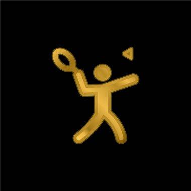 Badminton gold plated metalic icon or logo vector stock vector