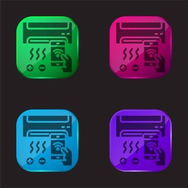Air Conditioner four color glass button icon stock vector