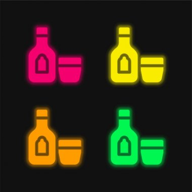 Alcoholic Drink four color glowing neon vector icon stock vector