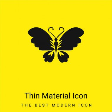 Black Butterfly Top View With Opened Wings minimal bright yellow material icon stock vector
