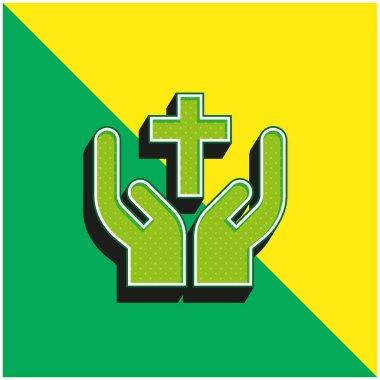 Bless Green and yellow modern 3d vector icon logo stock vector