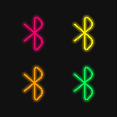 Bluetooth Sign four color glowing neon vector icon stock vector