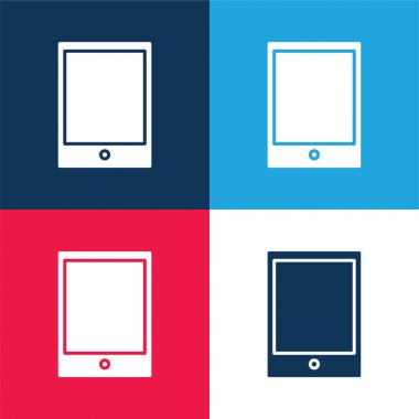 Big Ipad blue and red four color minimal icon set stock vector