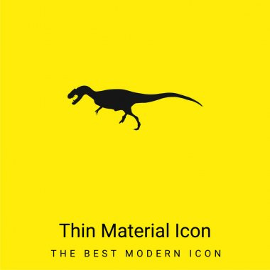 Allosaurus Dinosaur Shape minimal bright yellow material icon stock vector
