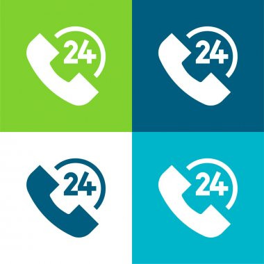 24 Hours Flat four color minimal icon set stock vector