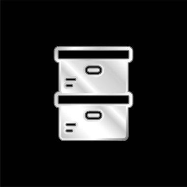 Boxes silver plated metallic icon stock vector