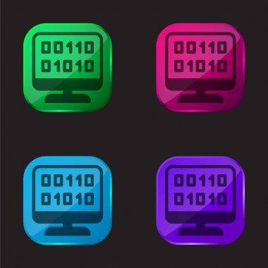 Binary Code four color glass button icon stock vector