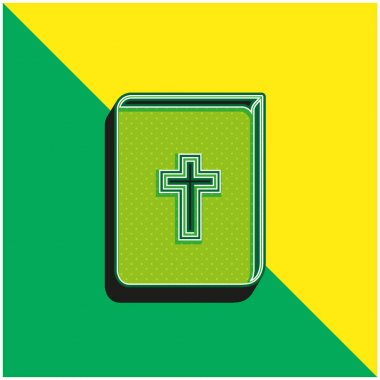 Bible With Cross Sign In Front Green and yellow modern 3d vector icon logo stock vector