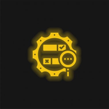 Boolean Search yellow glowing neon icon stock vector