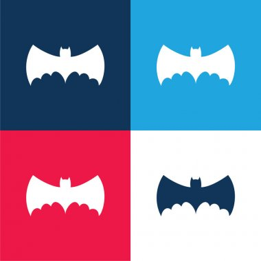 Bat With Big Wings Silhouette blue and red four color minimal icon set stock vector