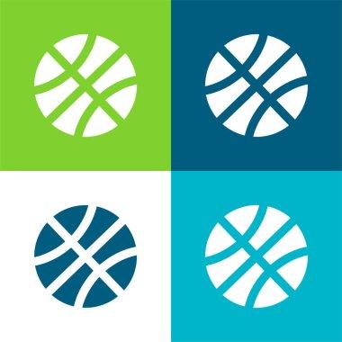 Baseball Ball Flat four color minimal icon set stock vector