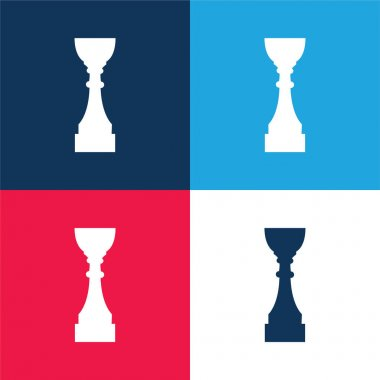 Award Trophy Cup Tall Black Silhouette blue and red four color minimal icon set stock vector