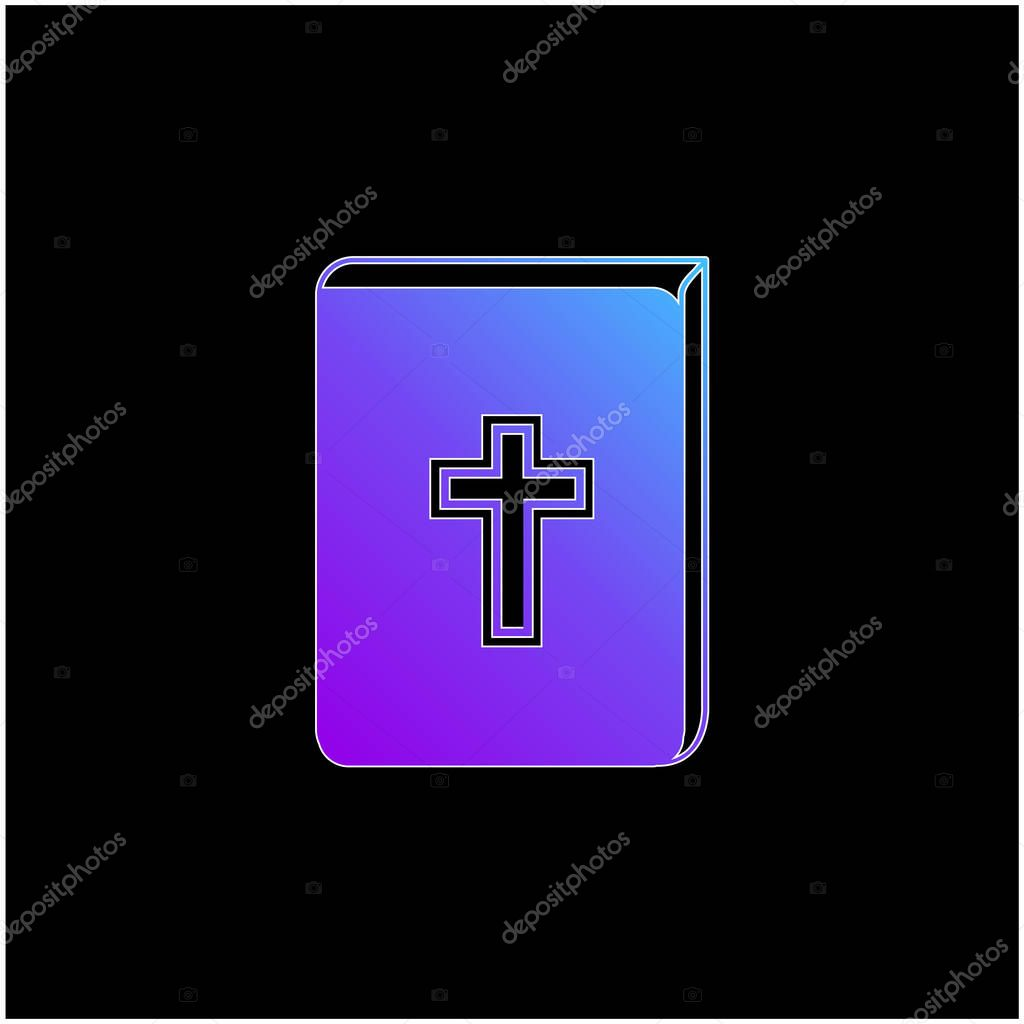Bible With Cross Sign In Front blue gradient vector icon stock vector