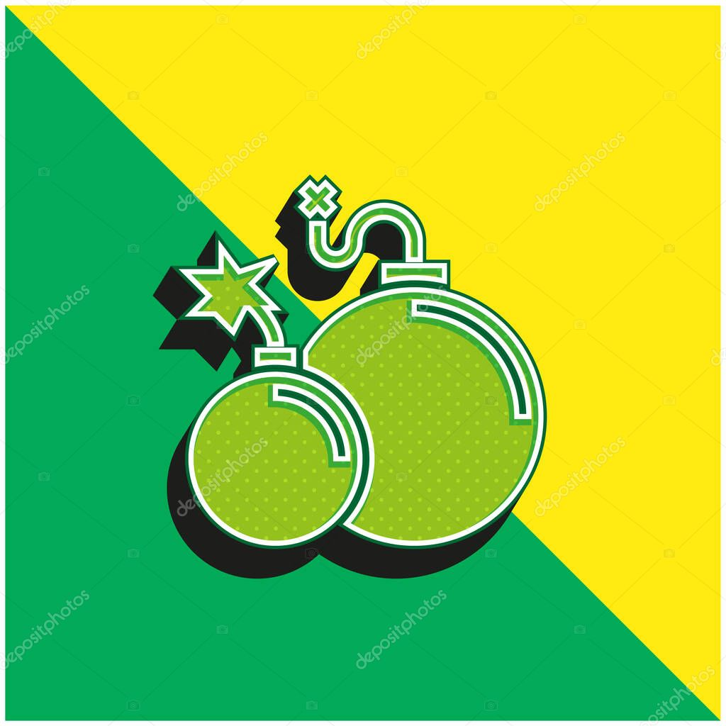Atomic Bomb Green and yellow modern 3d vector icon logo stock vector