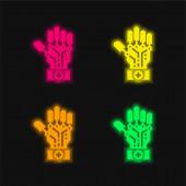 Umělá inteligence čtyři barvy zářící neonový vektor ikona