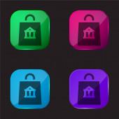 Bag four color glass button icon