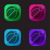 Beach Ball čtyři barvy skleněné tlačítko ikona