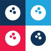 Bowling koule modré a červené čtyři barvy minimální ikona nastavena