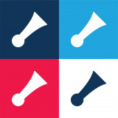 Bike Horn blue and red four color minimal icon set
