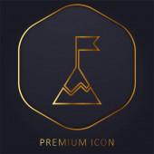Dosažení zlaté linie prémie logo nebo ikona