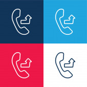 Auricular With An Outgoing Arrow Sign blue and red four color minimal icon set