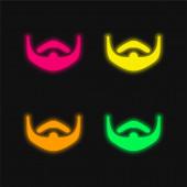 Vousy čtyři barvy zářící neonový vektor ikona